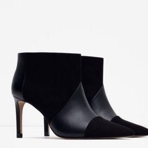 Zara black pointed toe boots